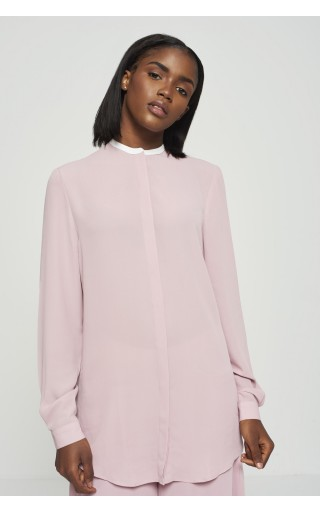 Pink Contrast Collar Blouse