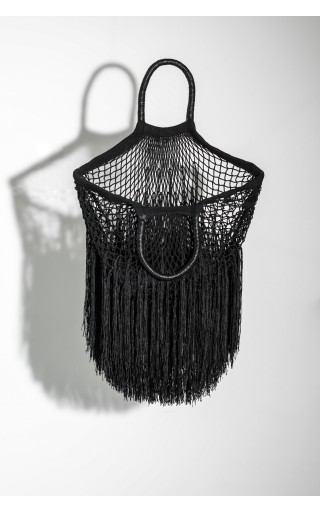 Black Large Fringe Tote