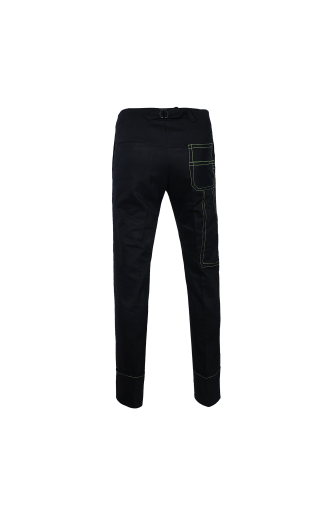 Contrast-Stitch Carpenter Trousers (Black/Neon)
