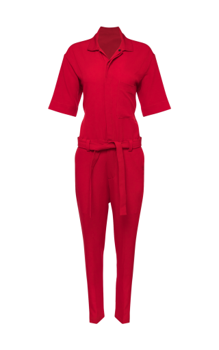 Uniform Belted Slim Fit Jumpsuit