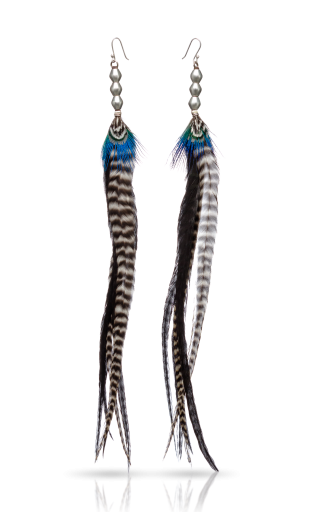 Long Pair Antique Silver Feather Earrings -  Blue Marina