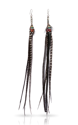 Long Pair Antique Silver Feather Earrings - Black Widow