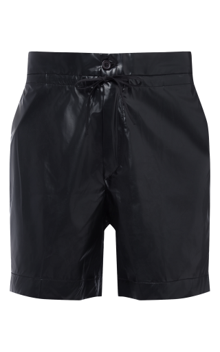 Coated Leather Look Junior High Shorts
