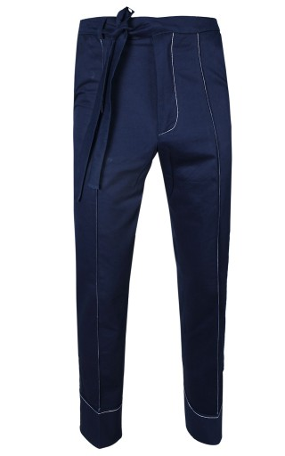 Contrast-Stitch Carpenter Trousers (Navy/White)