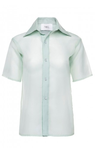 Caribbean Mint Sheer Button Up