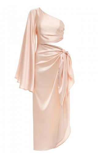 One Shoulder Cutout champagne Satin Gown