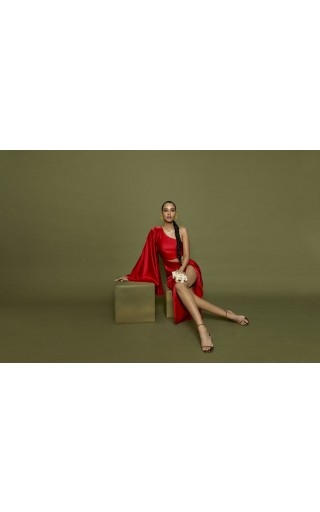 One Shoulder Cutout Satin Gown red