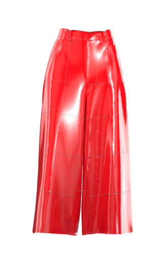 Red High Waist 3/4 Pants