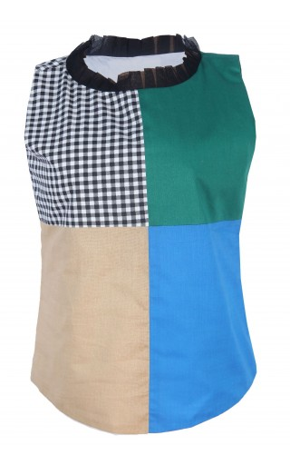COLOR BLOCK SLEEVELESS BLOUSE