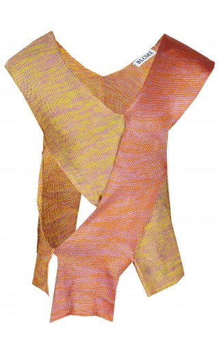 MULTICOLOUR SILK RAYON DECONSTRUCTED KNIT VEST
